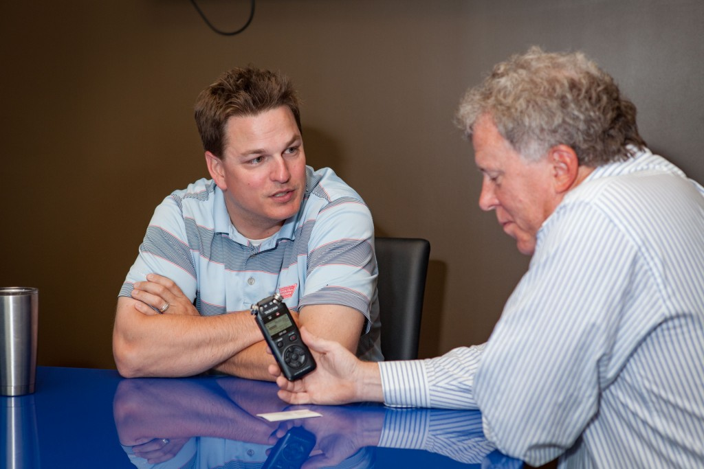 Joey Wagner talks up his Derby events. Photo by Bill Brymer