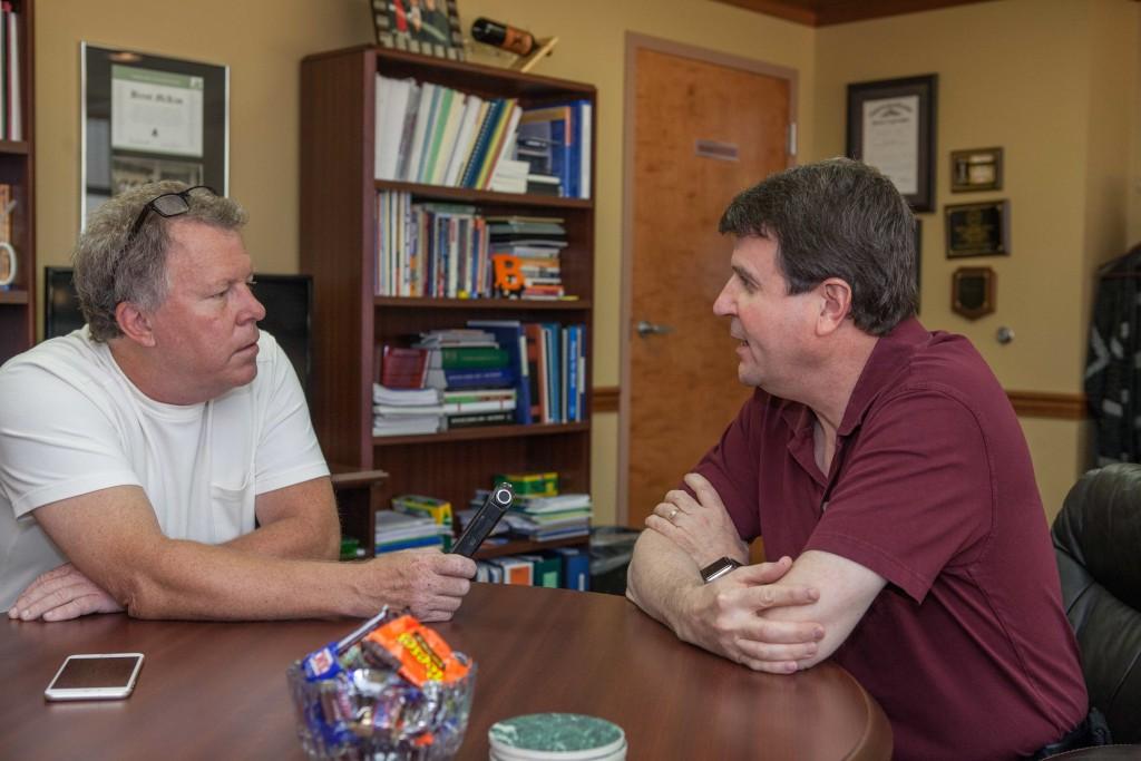 Chatting with Brent McKim. Photo by Bill Brymer
